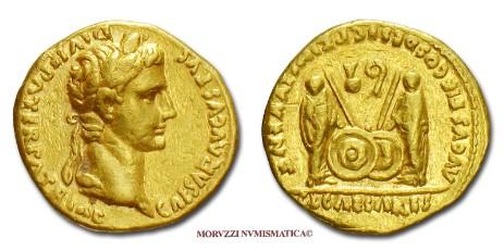 68a779f4b1 Le monete di Augusto, tra le quali questo aureo di Augusto, proposte dalla  Moruzzi