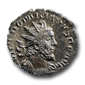 antoninianus of the roman usurper domitianus